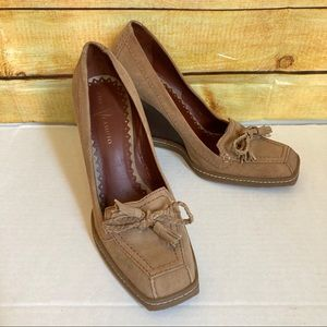 Vince Camuto Tan Suede Square Toe Wedges Size 7.5